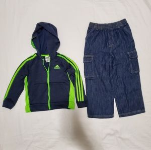 Kids Boys 5T Adidas Jacket and Jeans